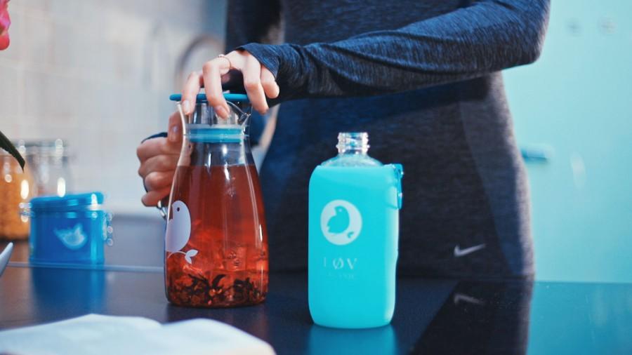 Bouteille en verre co-branding pour Lov Orgnaic