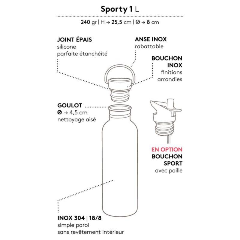 Gaspajoe Sporty, gourde écologique de 1 litre en inox