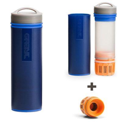 purificateur eau portable bleu avec 1 filtre