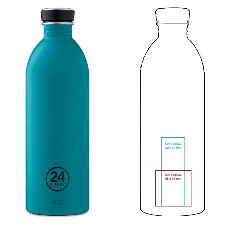 Carafe en inox personnalisable de 1 litre, une bouteille design à offrir