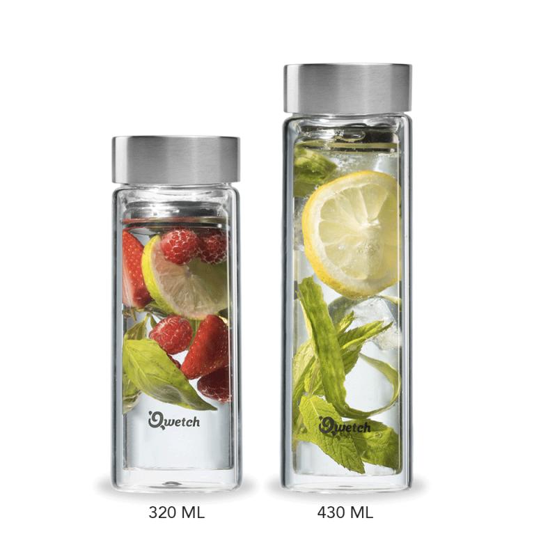 Thermos en verre, design et isotherme, by Qwetch, disponible en 320 ou 430 ml