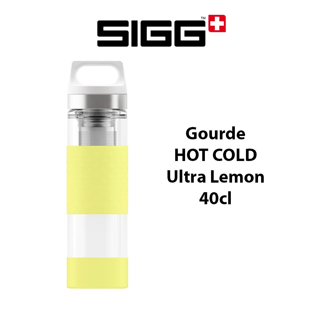 Bouteille Sigg modèle Hot & Cold Glass, coloris Ultra Lemon, isotherme et design