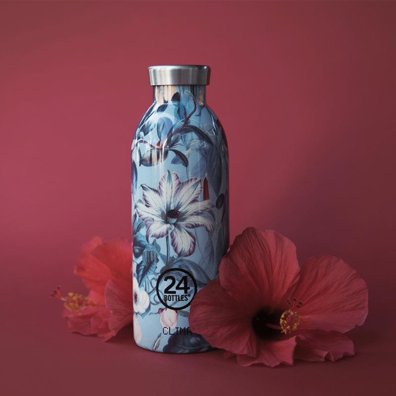 Gourde design thermos avec véritable composition florale, par 24 Bottles