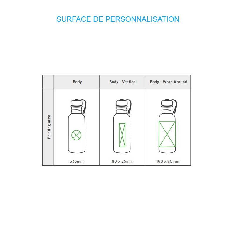 Gourde d'eau personnalisée en inox avec grandes zones de personnalisation