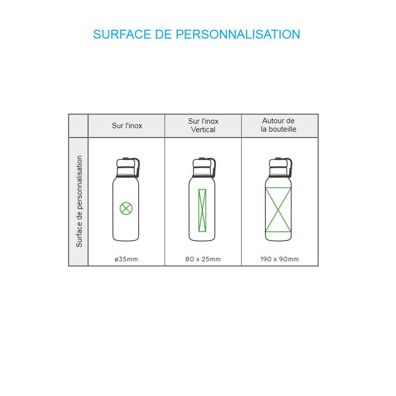 Gourde isotherme avec de grandes surfaces de personnalisation