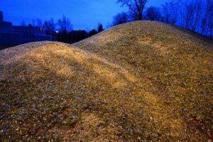 Les déchets de la poubelle verte sont réduits en calcin