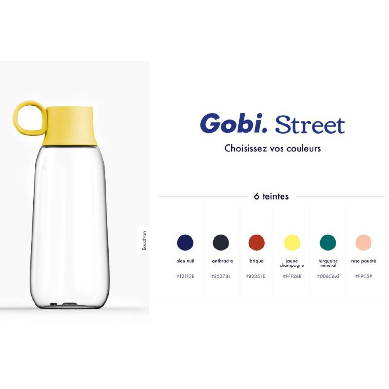 Gourde personnalisable Gobi Street, choisissez la couleur du bouchon