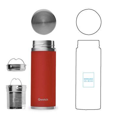 Théière inox personnalisée avec 2 filtres à thé